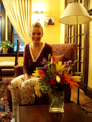 Meg with Catherine's flowers